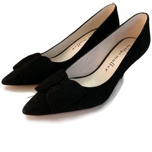 "Bettye Muller Black Suede Bow Pumps 3"" Heels  Sz 6"